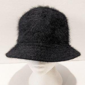 Women's angora blend black bucket hat